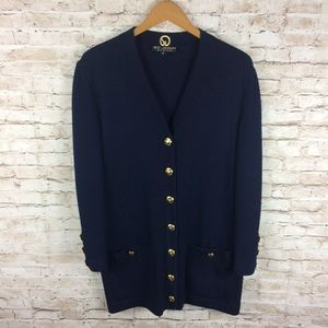 St John Basics Blue Cardigan Gold Buttons Sweater